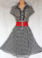 SIZE 8 WW2 30's 40sLANDGIRL VINTAGE STYLE TEA DRESS MONOCHROME BLACK# EU 36 US 4