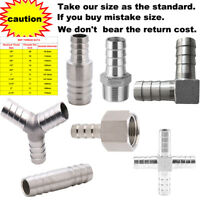 STAINLESS STEEL PIPE FITTING BARBED HOSETAIL JOINER TUBING CONNECTOR AIR WATER