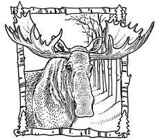 Wood Mounted Rubber Stamps, Alaska, Moose Stamps, Wildlife Stamps, Moose Frame