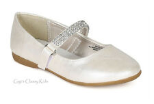 New Girls White Shiny Ivory Dress Shoes Flats Rhinestones Pageant Wedding Kids