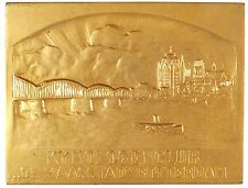 City view bridge dogs KENNEL CLUB MASASSTAD ROTTERDAM gilt-bronze 58mm x 45mm