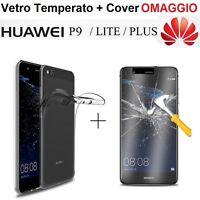 COVER per Huawei P9 / Lite / Plus in TPU + PELLICOLA VETRO TEMPERATO CUSTODIA