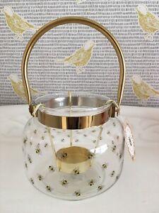 BOTANICAL DISCOVERY BEE PRINT GLASS LANTERN CANDLE HOLDER BUMBLEBEE- BNWT