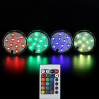 IR Remote Control SMD5050 RGB Submersible LED Lights AAA Battery Operated Base