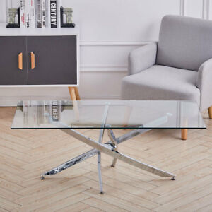 Rectangle Clear Glass Coffee Table With Cross Chrome Leg Living Room Furniture