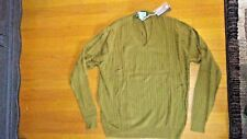NWT Awesome Mens Descente Golf cable knit Olive silk cotton V-neck sweater sz XL
