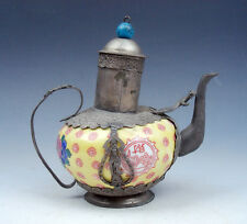 Vintage Bronze Kwan-Yin Yellow Porcelain Flowers Painted Decor Teapot w/ Pi-Xiu