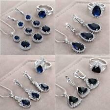 Fashion 925 Silver Jewelry Set Teardrop Sapphire Ring Earrings Necklace Wedding