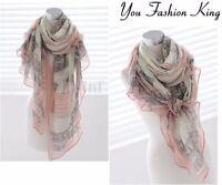 Women Long Print Soft Cotton Scarf Wrap Ladies Shawl Large Silk Scarves Pashmina