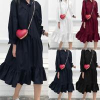 Womens Long Sleeve Ruffle Long Midi Dress Loose Solid Party Shirt Dress Plus