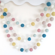 Pastel Felt Ball Pom Pom Garland, Custom Length, Nursery Wall Decor,Peter Rabbit