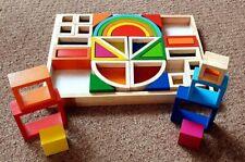 Goki Wooden Rainbow Building Blocks With Windows ** Ex - Demo **