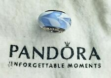 Authentic Pandora Sterling & Murano Glass Charm Lt Blue w/ White Flags 925 ALE