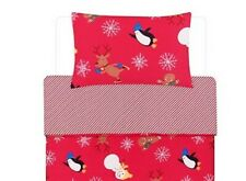 Red Reindeer Toddler Cot & CotBed Christmas Bedding Duvet Cover 120x150cm