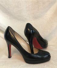 Christian Louboutin Black Leather PLATFORM  SIMPLE PUMP Shoes, 39, 8.5