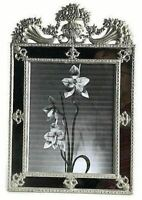 Terragrafics Victorian Beaux Arts Mirrored Picture Frame Metal Standing 10x8
