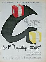 PUBLICITÉ DE PRESSE 1959 STENDHAL GINSENG COLOR LE 1er MAQUILLAGE SOINS