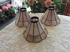 Set Of 3 Stained Slag Glass Lamp Shades Ceiling Fan Globes Pendant Light Covers