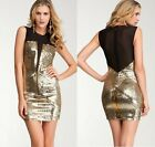 NWT Bebe black gold sequin deep v neck mesh sparkle clubbing top dress XS 0 2