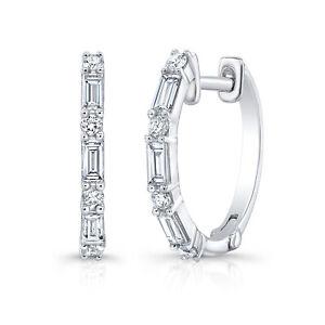 14k White Gold Baguette Round Cut Diamond Hoop Earrings 0.54 CT VS1 Natural