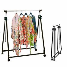 Chrome Collapsible Adjustable Garment Rack Coat Hanging Rail Clothes Stand Black