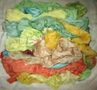 LOT PURE SILK Antique Vintage Sari REMNANT Fabrics 100 GRAMS CRAFT DOLL QUILT 17