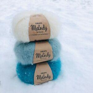 Ombré Blue Fluffy Peruvian Superfine ALPACA + MERINO wool yarn gift set 3 x 50g