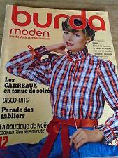 MAGAZINE BURDA VINTAGE DISCO HITS LES TABLIERS TENUE DE SOIREE ETC DECEMBR 1978