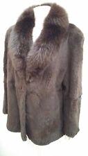 giacca jacket cappotto donna pelliccia visone rasato collo vera volpe taglia L