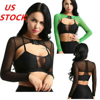 US Women Long Sleeve Mesh Crop Top Fishnet Shrug Blouse Bag Buckle T-shirt Tops