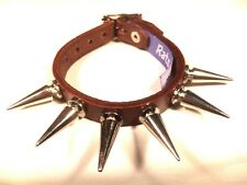 BROWN Leather LARGE Spike Stud bracelet wristband wrist cuff Steam punk RATS BUM