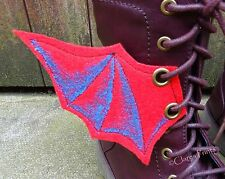 Steampunk Boot Wings Fabric Bat Wings Goth Shoe Accessory Eyelets Red Blue