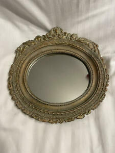 Vintage Gold Resin Oval Framed Mirror with Sleeping Angels Floral Design 7 x 5