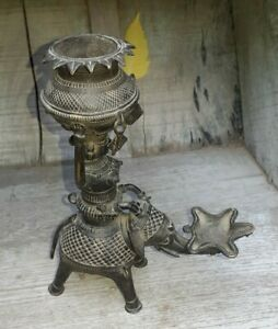 Old Brass Tribal Lady Ride Elephant Candle Stand Gangori Collectables