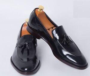 Handmade Mens Patent Leather Tassels Shoes, Men Black tassels moccasins Loafer