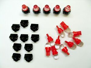 "15 Red Domes LEDs Light Bulbs 1/2"" Sockets Dash Instrument Panel  For Imports"