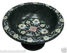 """8"""" Green Marble Fruit Bowl Rare Floral Inlay Giving Tuesday Special Gifts H1394"""