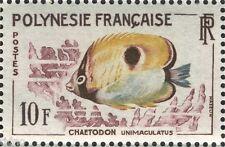 French Polynesia 1962, Fish 10 Fr Chaetodon Unimaculatus MNH VF/XF
