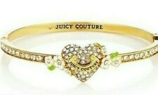 Juicy Couture Pave Rhinestone Heart Flower Hinged Bracelet NEW