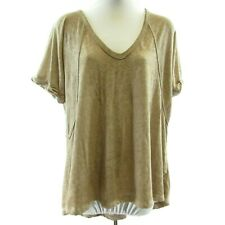 We The Free Brown Short Sleeve V Neck Top Size XS Oversized Burnout Sheer Tee