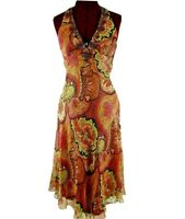 Mary L Couture Silk Lurex Halter Silk Party Dress Paisley Beaded Size 2 Boho