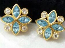 Vintage Swarovski SAL Signed Light Blue Marquise Clear Rhinestones Clip Earrings