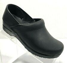Women's Dansko Professional Oiled Leather Black Clogs Size 37, US 7 M