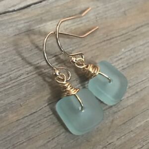 Min Favorit Turquoise Bay Sea Glass Square & Gold Pl Artisan Earrings Petite