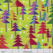 Laurel Burch Enchantment Christmas TREES on LIME GREEN Fabric By the FQ - 1/4 YD