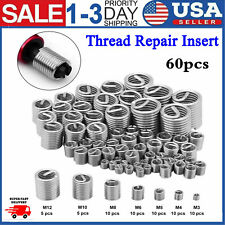 60pcs Stainless Steel Thread Wire Screw Sleeve Repair Kit M3 M4 M5 M6 M8 M10 M12