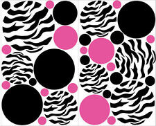 POLKA DOTS CIRCLES Zebra print big wall stickers 33 decals Pink Black teen dorm