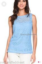 NWT $115 Laundry by Shelli Segal Surf Lace Sleeveless Knit Top Medium