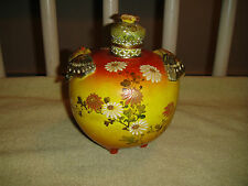 Antique Butterfly & Daisies Pottery Snuff Bottle Lidded Vase-Chinese Or Japanese