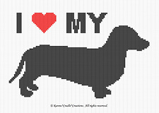 Crochet Patterns - I LOVE MY DACHSHUND afghan pattern